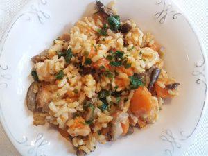 rižoto od piletine, gljiva i bundeve